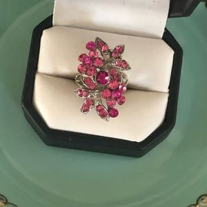 Vintage Pink Rhinestone Ring